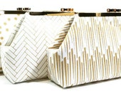 Gold Bridesmaid Clutches Personalized Clutches Gatsby Wedding - Choose Your Fabrics Metallic Gold Navy Black White Set of 5 FREE SHIPPING