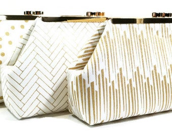 Gold Bridesmaid Clutches Personalized Clutches Gatsby Wedding - Choose Your Fabrics Metallic Gold Navy Black White Set of 5