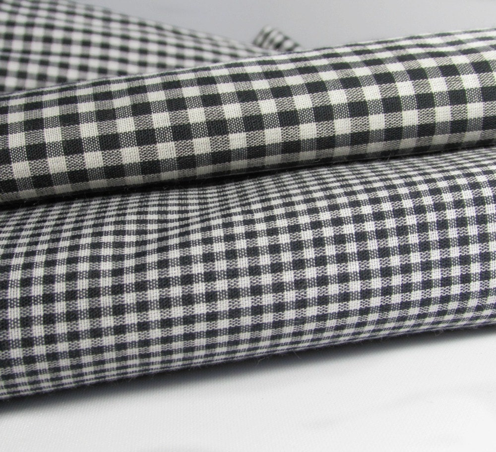 Black Gingham Check Fabric In Black And White 1 By Abbysfabric