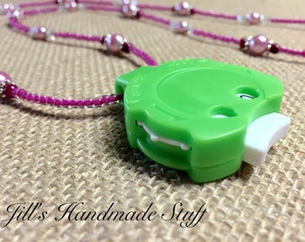 Row Counter Necklace- Stitch Counter for Knitters- Pink Beaded Boho Jewelry Gift