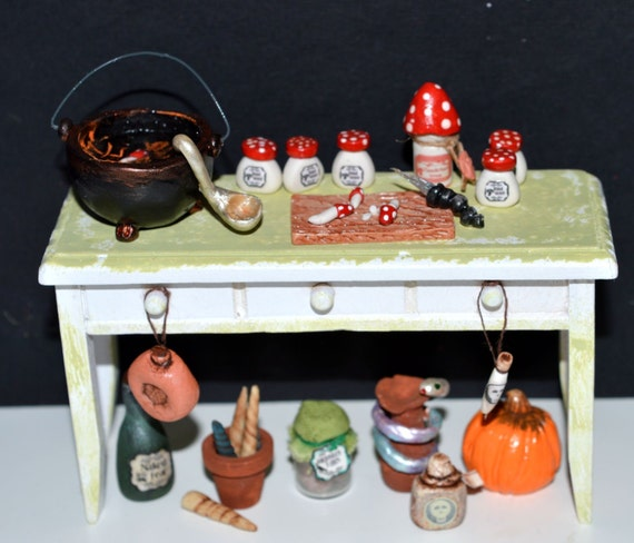 Dollhouse miniature 1/12 witch wizard toadstools brew preparation table OOAK ( a bit of shabby chic -ish)