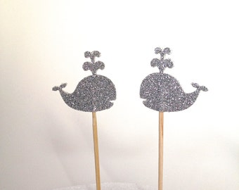 24 Silver Glitter Whale Cupcake Topper - Food Pick - Party Pick