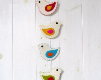 Colorful felt birds wall hanging (6 birds) - made to order