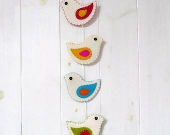 Colorful felt birds wall hanging - 6 birds