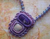 Bead Embroidery Necklace Purple Fade