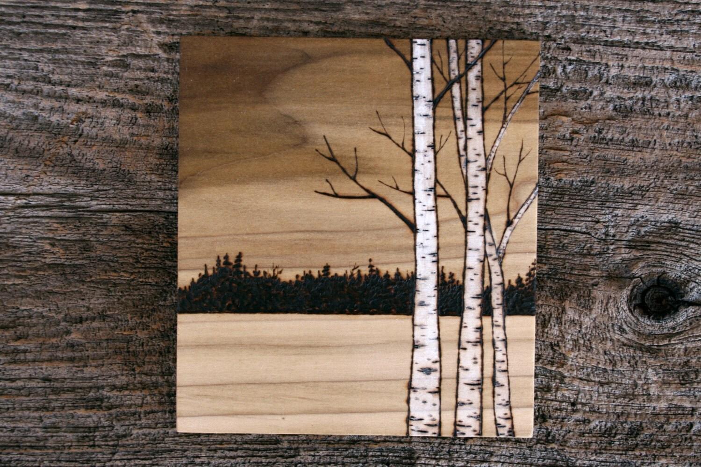 Birch trees art wood burning