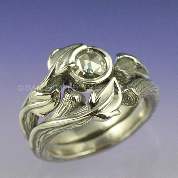 moissanite desert sterling silver engagement ring