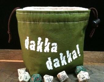 Dakka Dice Bag - Sci fi dice bag - warhammer - olive green