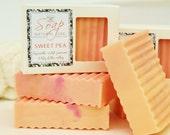 SWEET PEA SOAP -  large 5.5 oz, pink, floral, flower, violet, jasmine, lily, shea butter, mango butter, cocoa butter, vegan, natural, gift