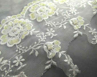 White Floral 5 inch Scalloped Bridal Lace with Ivory Sequins and White Pearls  - Choose your quantity on checkout