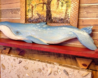 "Blue Whale 60"" chainsaw wooden whale carving beach bungalow wall art indoor outdoor home centerpiece nautical accent maritime decor"