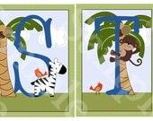 """Unframed """"Jungle Buddies/Safari Pals/Animal Friends"""" Letter Art  5x7 inch Linen Look Nursery Wall Art Prints Baby Children Kids Decor"""