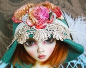 Fabulous Green Felt Flapper Style Hat With Hand Dyed Rosette and Lace