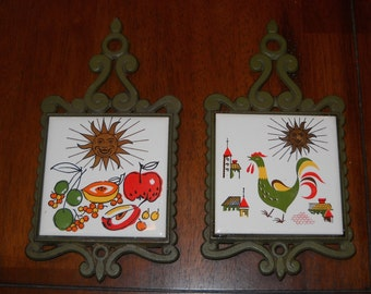 Pair of Vintage Enesco Tile Trivets -  Cast Iron - Kitchen Hot Plates / Trivets - Retro Tile Trivets - Made in Japan
