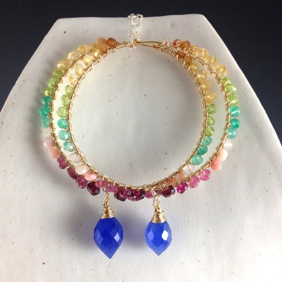 gold gemstone hoops with drops