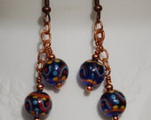 Hand Painted Blue Glass Beads in Copper Earrings...item number 385