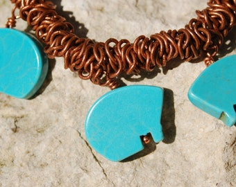 Turquoise Style Bears on Copper Stretch Bracelet.........item number 5426