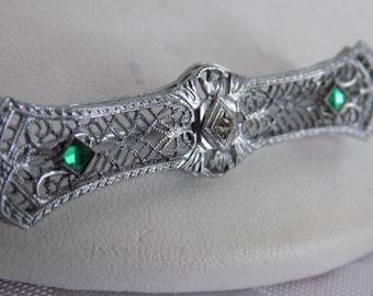 "Antique signed ""OB""( Ostby & Barton)Edwardian sterling silver filigree bar brooch,Titanic connection, elegant vintage jewelry"