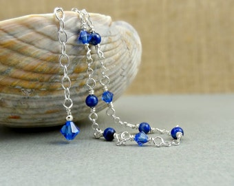 Lapis Anklet, Navy Blue Gemstone and Sapphire Blue Crystal Ankle Jewelry, Summer Fashion for Her, Wire Wrapped Ankle Bracelet