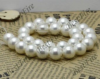 Single14mm White south seashell pearls,  south seashell pearls Beads,loose bead full strand 15 inch