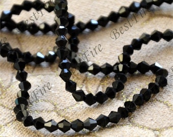 100 beads 4 mm Faceted Black rhombus A Glass Crystal Beads clear Color,  rhombus  Crystal Glass  loose beads