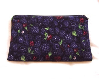 Blackberries Fabric Zipper Pouch / Pencil Case / Make Up Bag / Gadget Pouch