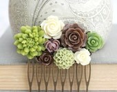 Bridal Hair Comb Bridesmaids Gift Flowers for Hair Bridal Hair Accessories Floral Headpiece Green and Brown Earth Tones Garden Hair Piece