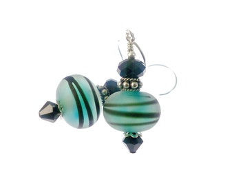 Teal Lampwork Earrings, Glass Bead Earrings, Mod Stripe Earrings, Lampwork Jewelry, Beaded Earrings, Beadwork Earrings