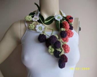 Blackberry Crochet  Scarf-Flower Necklace Scarf-Lariat Neklace Scarf