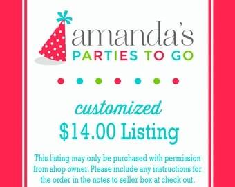Customized 14.00 Dollar Listing   Amanda's Parties To Go