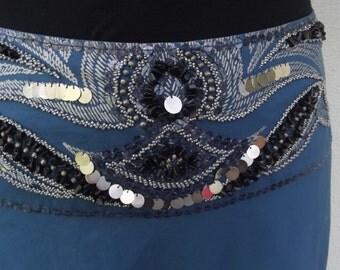 Gorgeous, Embellished, Blue, Cotton, Bollywood Skirt