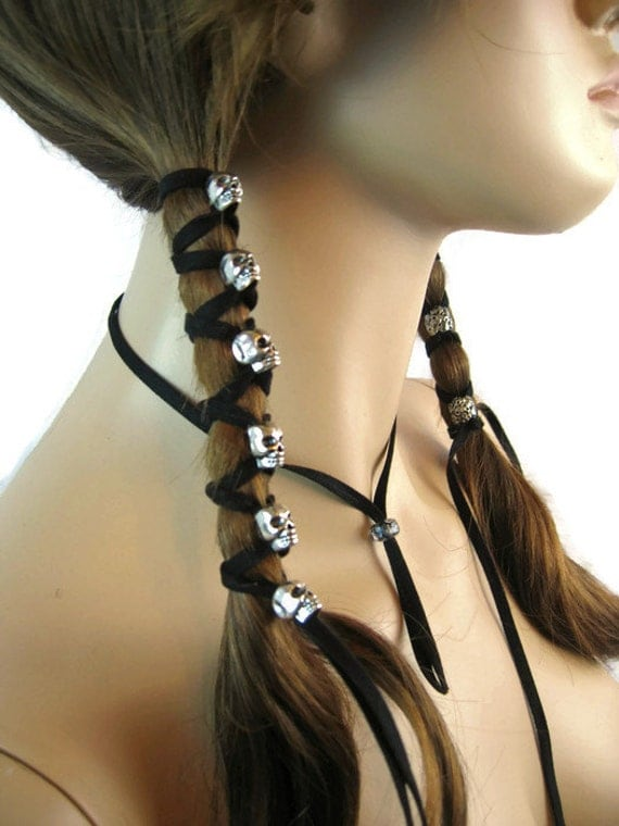 Skull hair jewelry black leather hair ties ponytail holder like this item pmusecretfo Image collections