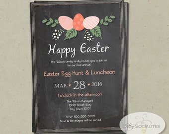 Chalkboard Easter Egg Invitation   INSTANT DOWNLOAD   Editable Text PDF that you personalize in Adobe Reader