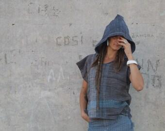 Blue Moon -  Handwoven Organic Cotton-Linen & Hand Dyed Raw Silk Tunic - Wearable Art