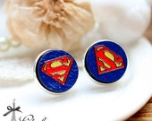 20% off -NEW Unique 3D Embossed  Superman 16mm Round Handmade Wood Cut Cabochon to make Rings, Earrings, ,Necklaces, Bracelets-(WG-123)