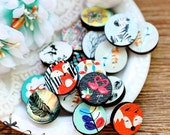 Mix 3D Embossed  16mm Round  Handmade Wood Cut Cabochon to make Rings, Earrings,  Necklaces, Bracelets-(WG)