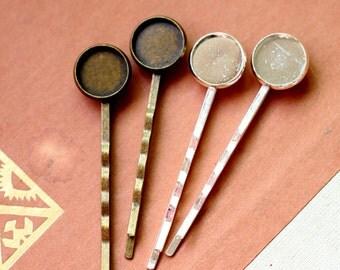 10Pcs 12mm Antique bronze / Silver  Filigree Hair  pins Clip Setting- high quality-NICKEL FREE( PINSS-43)