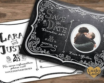 Customized PDF file: Chalkboard Moonlight Save the Date Postcard by Luckyladypaper - DIY printing