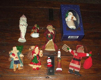 NINE Christmas Ornaments Santa Claus Figures Rustic Vintage Old Fashioned Whirligig Folk Art Victorian Collection