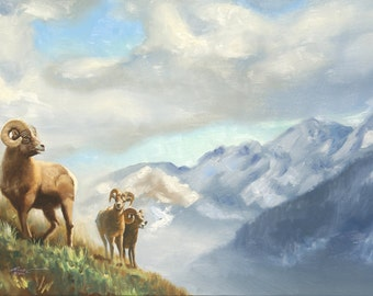 "Big Horn SHEEP print by RUSTY RUST 11"" x 17"" heavy paper, 11"" x 16"" appx. image size / S-103-P"