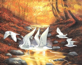Fall Gulls illusion autumn landscape 30x40 oils on canvas painting by RUSTY RUST / G-45