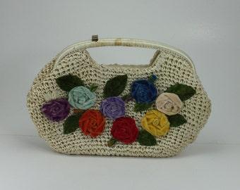 Vintage Straw Raffia Purse Off White Velvet Flowers Rockabilly Spring Summer Handbag Clutch