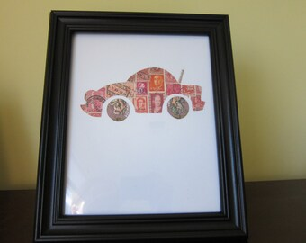 Postage Stamp Art - Race Car - Used Postage Stamps - Framed Postage Stamp Art - Wall Art - indy car, lightning mcqueen