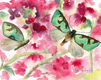 Butterflies and Pink Blossoms