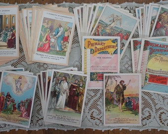Antique Ephemera Sunday School Cards The American Sunday School Union Little People's Lesson Pictures 1893-1900 Remarkable Collection of 55