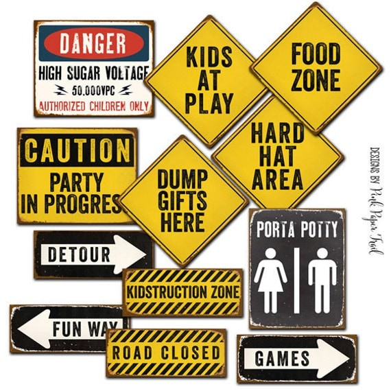 Construction Party Sign, Construction Party Decoration, Letter Size Signs, Instant Download, Print Your Own