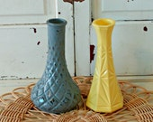 Upcycled Vintage Vases in Grey and Yellow
