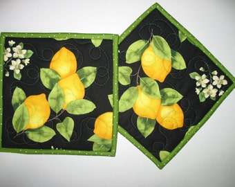 Lemon Pot Holders, Mug Rug, Oranges, Limes,  fabric from Timeless Treasures Fabric (Set of 2)