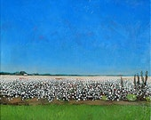 Cotton Fields Acrylic Painting 12 x 12 Rural Country Blue Nature Organic