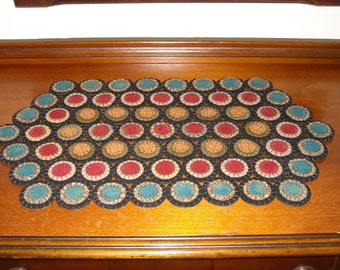 Large Primitive Hexagon Penny Rug, Table Mat, 100% Wool, Handmade - FREE US SHIPPING